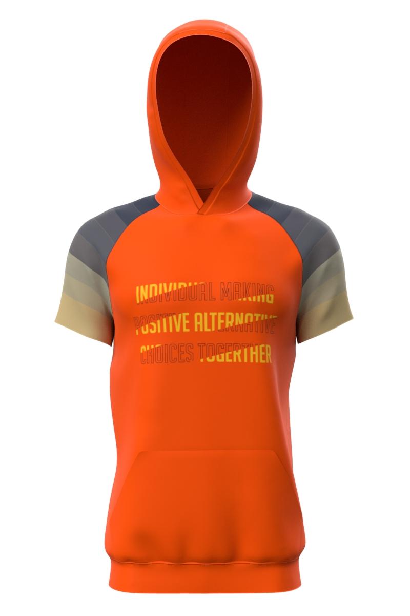 Short Sleeve Hoodie Orange